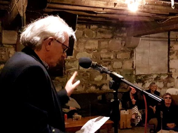 Frank  Thompson at the October edition of Words Out Loud.