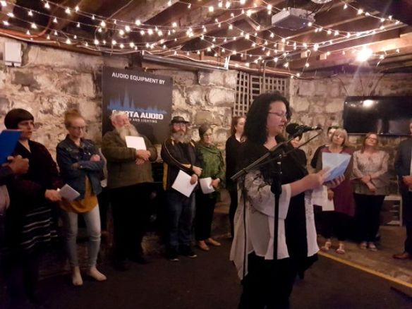 Kirstyn McDermott brings some visual art to her Weathering the Future reading at November's Words Out Loud
