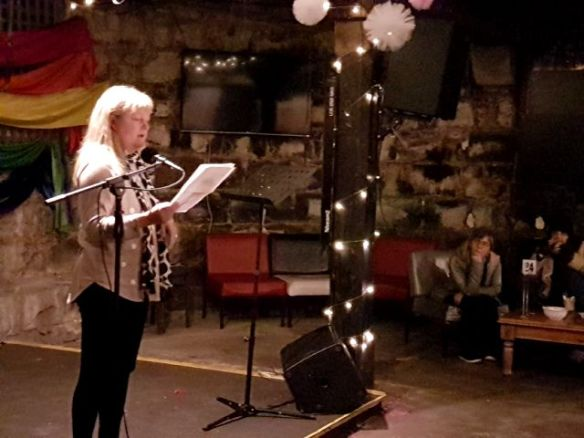 Fiona D'Silva reads at July's Words Out Loud.